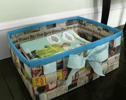 Como Fazer uma Cesta Retangular de Jornal