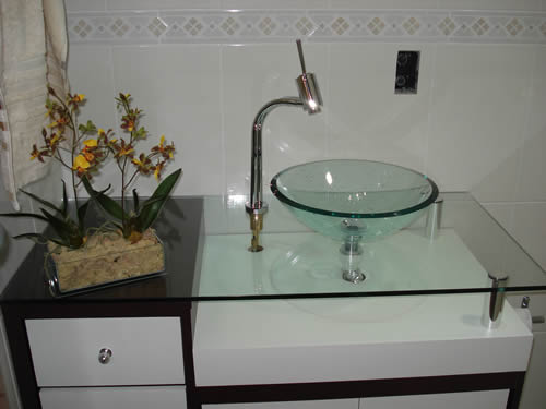 Cuba de Vidro Decoração Banheiro  Fotos -> Cuba Para Banheiro De Vidro Vermelha