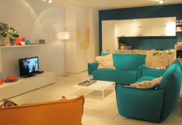 Sala De Estar Com Laranja ~ Azul e Laranja na Decoração 3