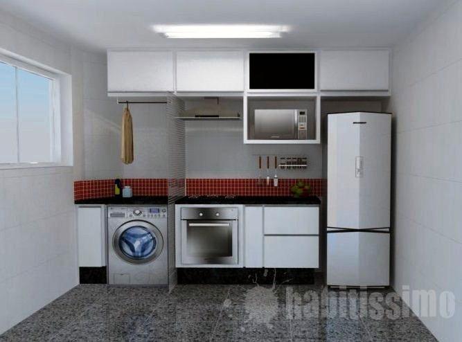 decoracao de interiores area de servico:Cozinha e Área de Serviço integradas