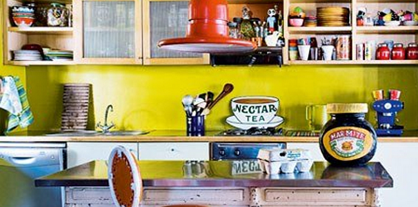 Cozinhas coloridas e estampadas
