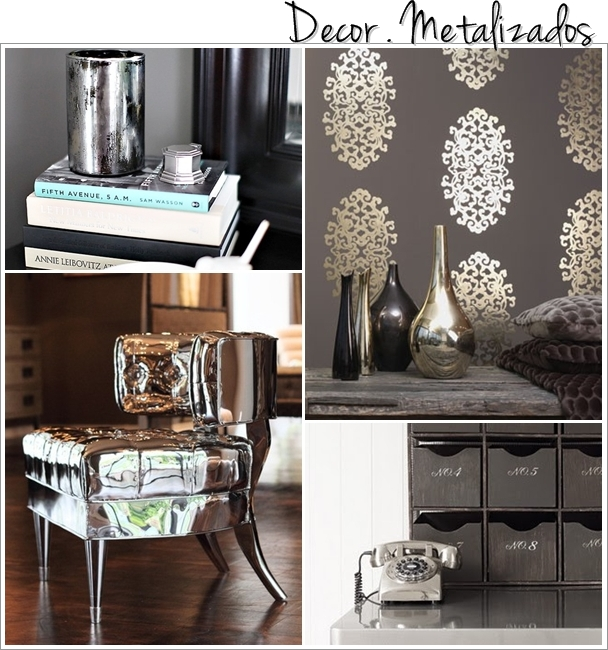 Objetos metalizados na decoração