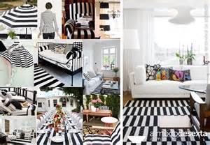 Listras preto e branco na decoração
