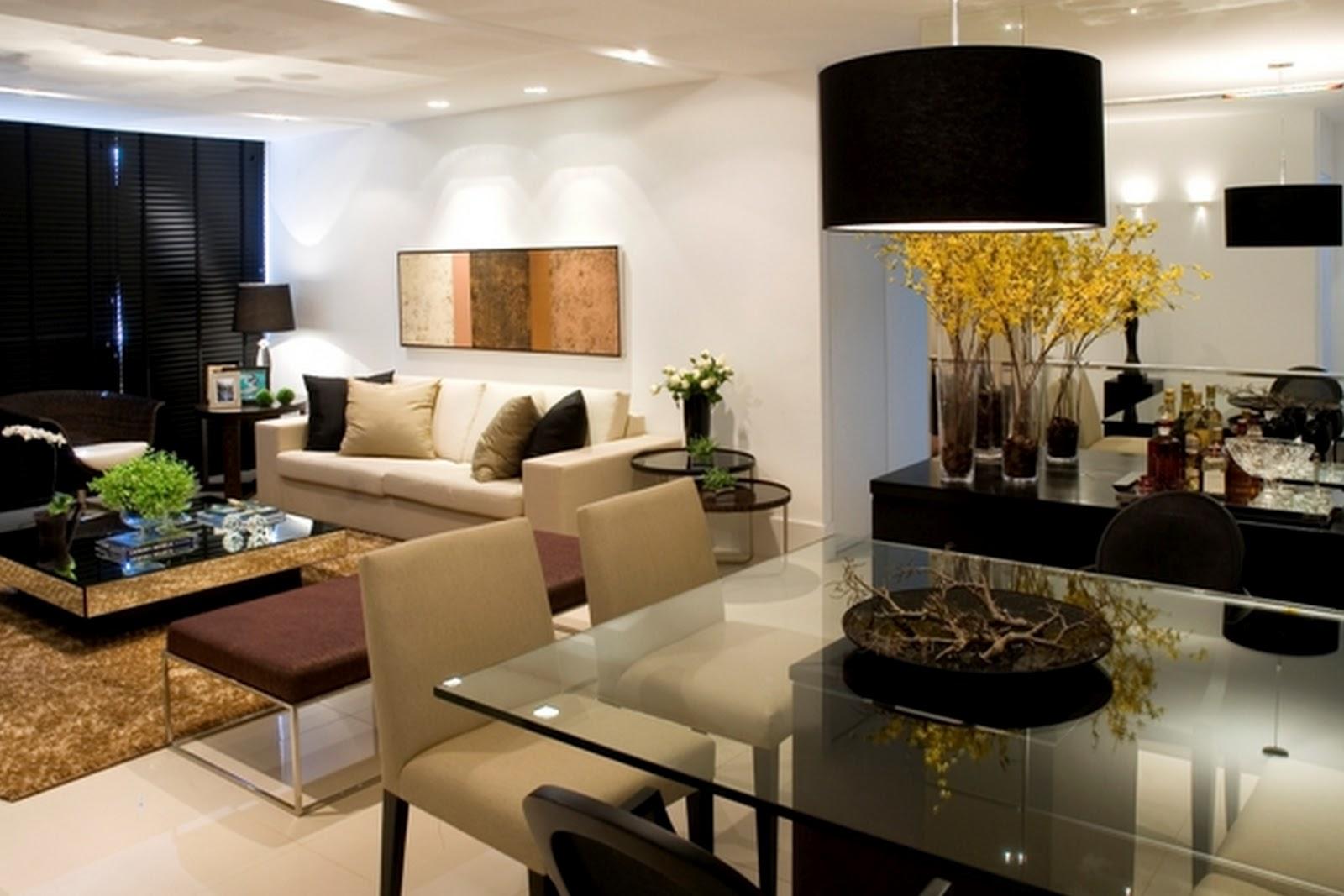 ambientes multifuncionais On comedor y sala de estar decorados