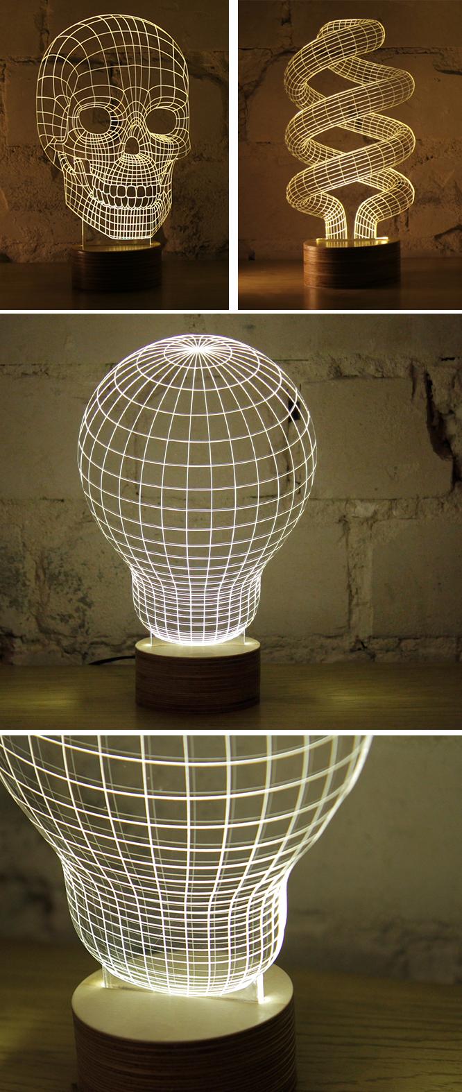 Efeito 3D na luminária 3