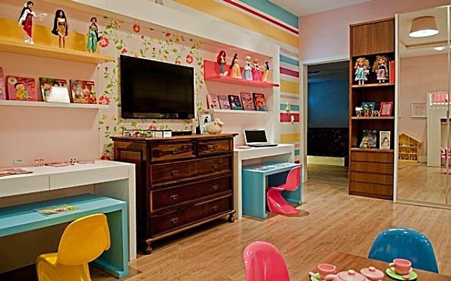 Decoração de quarto de criança ~ Quarto Rosa Azul E Amarelo