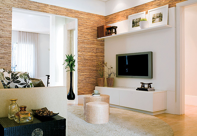 Como Decorar Sala De TV~ Decorar Ambientes Pequenos Gastando Pouco