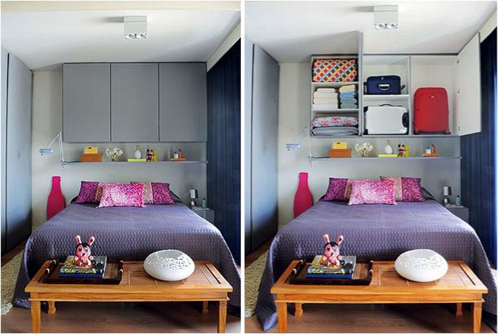 Quarto com cama embutida for Cama sobre armario