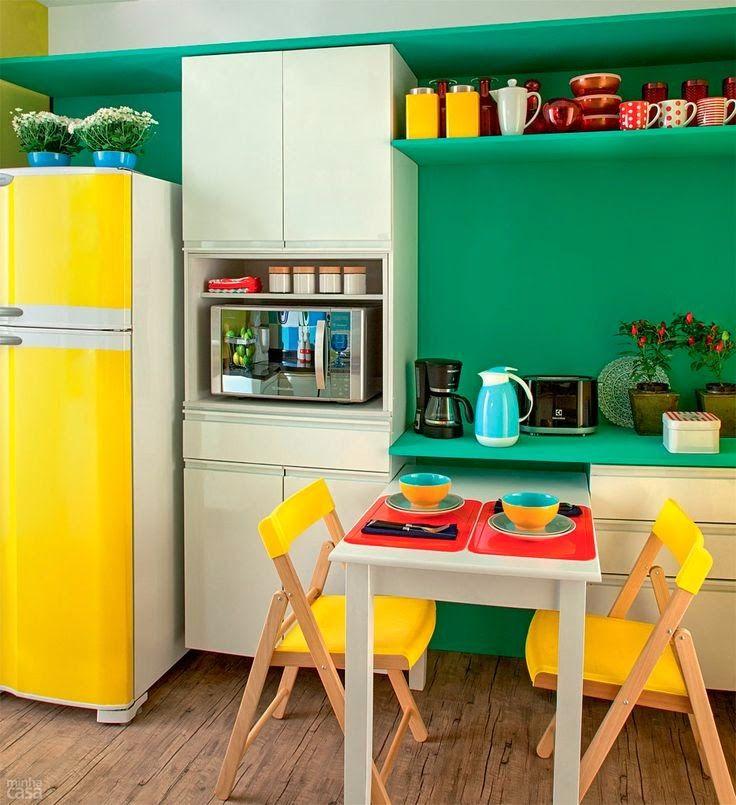 decoracao na cozinha:Cozinhas coloridas na decoração 12