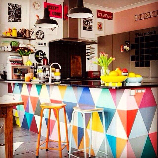Cozinhas coloridas na decoração 7