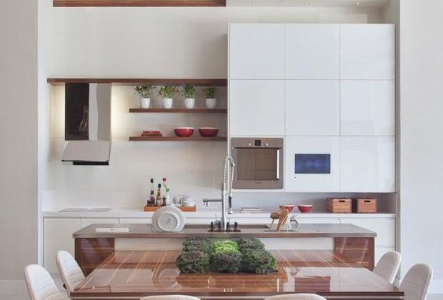Cozinha e sala de jantar conjugadas