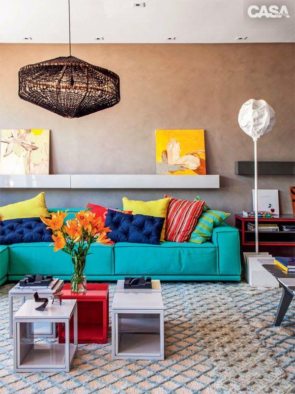 decoracao de sala azul turquesa e amarelo : decoracao de sala azul turquesa e amarelo:Detalhes coloridos na sala 3