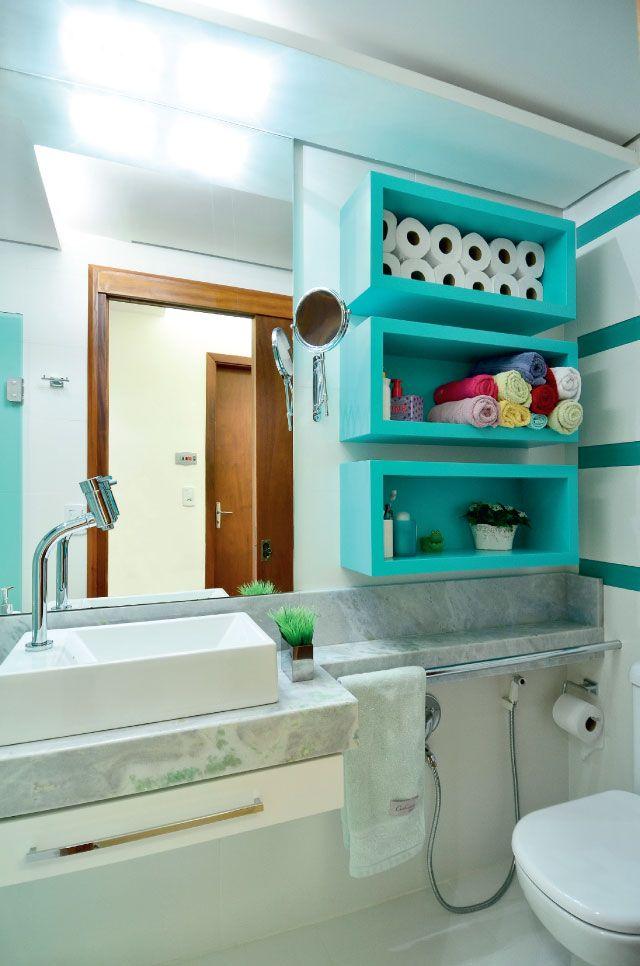 Como organizar a bancada do banheiro -> Banheiro Pequeno E Organizado
