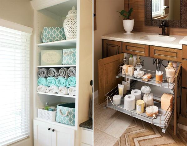 Como organizar a bancada do banheiro -> Como Improvisar Um Armario De Banheiro