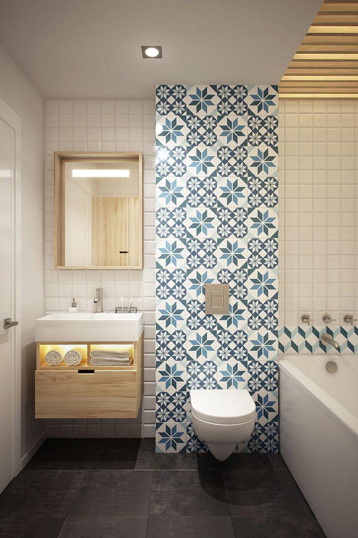 Papel de parede estampado no banheiro 2