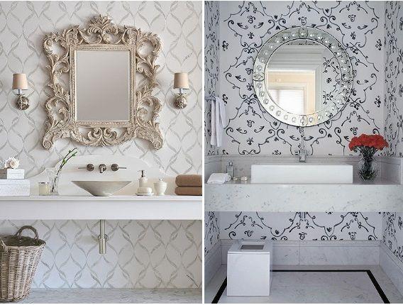 Papel de parede estampado no banheiro 3