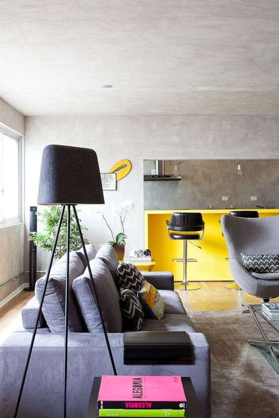 sala com sofá cinza 14