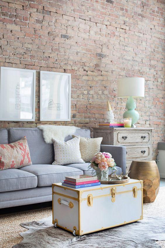sala com sofá cinza 5