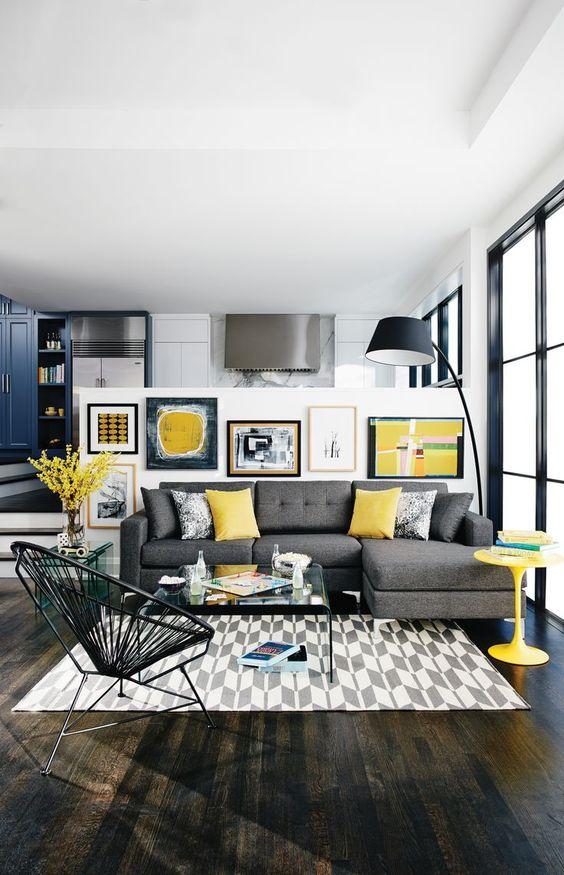 sala com sofá cinza 8
