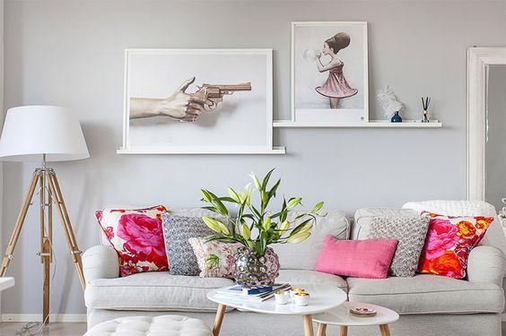 sala com sofá cinza 9