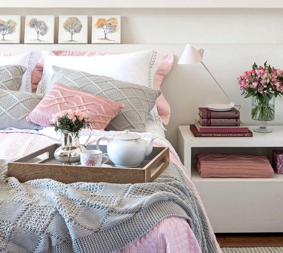 Decoração de quartos cinza ~ Quarto Rosa Pastel