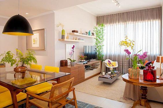 Decora o de sala conjugada dicas e inspira es - Comedores pequenos para apartamentos ...