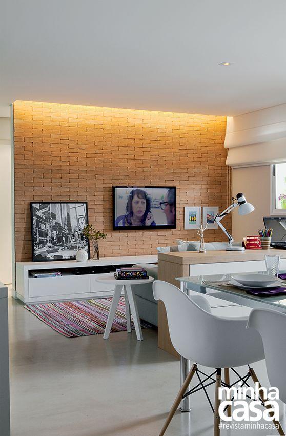 Sala Estar Con Home Office ~ Decoração de Sala Conjugada 6