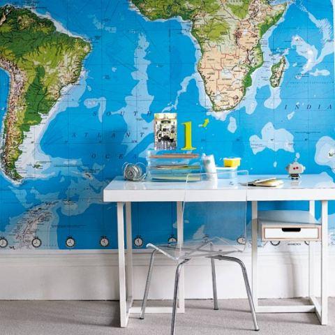 Mapa na parede para decorar