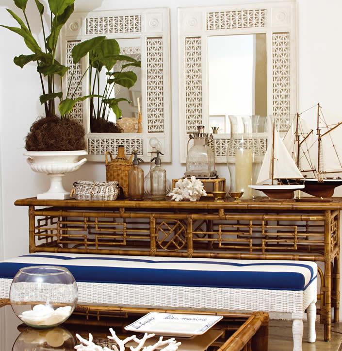 Objetos de bambu na decoração