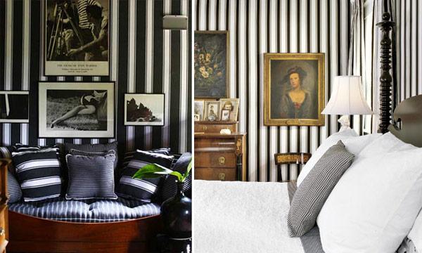 Listras preto e branco na decoração 3