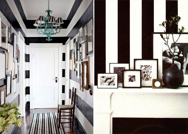 Listras preto e branco na decoração 5