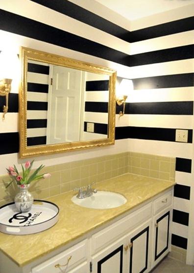 Listras preto e branco na decoração 7