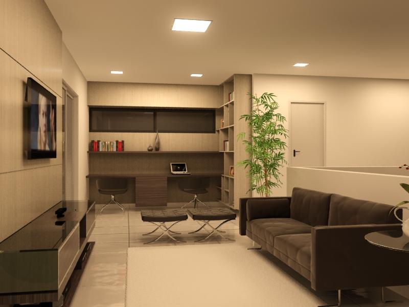 Home office na sala de estar 6